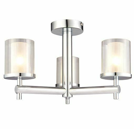 Britton 3 light semi flush chrome effect plate with a clear ridged glass shade